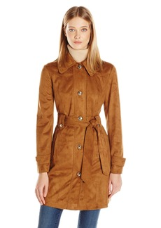 Jessica Simpson Women's Suede Rain Trench Coat  L