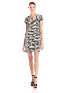 Jessica Simpson Women's Textured Knit Short Sleeve Shift Dress