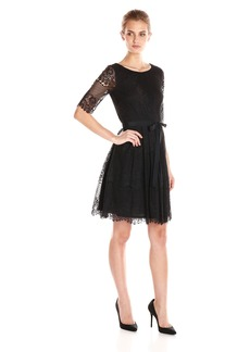 Jessica Simpson Women's Three Quarter Length Sleeve Lace Fit and Flare Dress