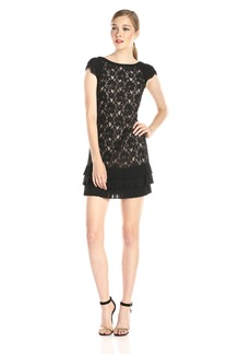 Jessica Simpson Women's Tiered Hem Lace Dress