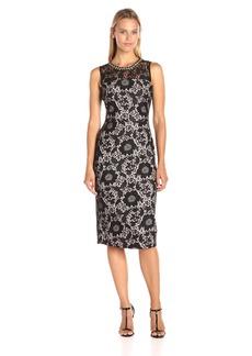 Jessica Simpson Women's Tropical Bonded Lace Midi Dress