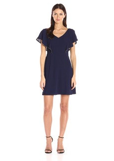 Jessica Simpson Women's V-Neck Dress with Flutter Sleeve Caplet