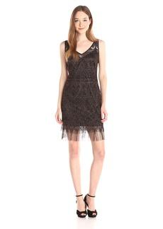 Jessica Simpson Women's V Neck Metallic Lace Dress with Fringe Hem