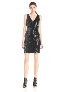 Jessica Simpson Women's V-Neck Ombre Sequin Dress with Racerback