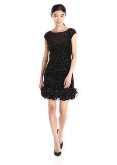 Jessica Simpson Women's Velvet Burnout Dress with Satin Ruffle