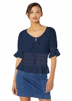 Jessica Simpson Women's Viva Printed Elbow Sleeve Smocked Peasant Top Dress Blues-Colored
