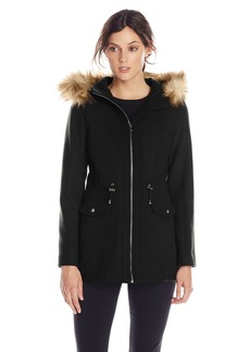Jessica Simpson Women's Wool Anorak With Faux Fur Trim Hood