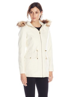 Jessica Simpson Women's Wool Anorak with Faux Fur Trim Hood  Large