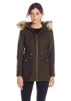 Jessica Simpson Women's Wool Anorak with Faux Fur Trim Hood  Medium