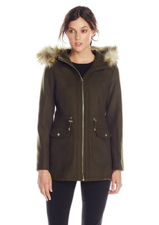 Jessica Simpson Women's Wool Anorak with Faux Fur Trim Hood  Small