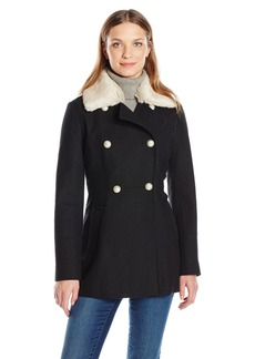 Jessica Simpson Women's Wool Military Coat with Faux Fur  L