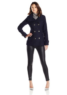 Jessica Simpson Women's Wool Peacoat with Gold Buttons