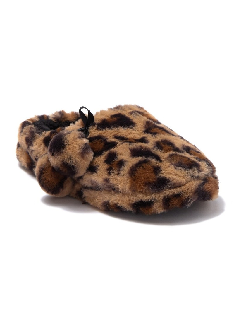 Jessica Simpson Leopard Faux Fur Plush Clog Slipper