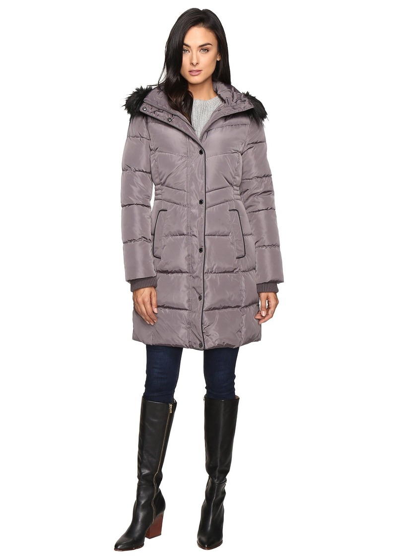 Jessica Simpson Long Puffer w/ Waist Detail Hood and Faux Fur