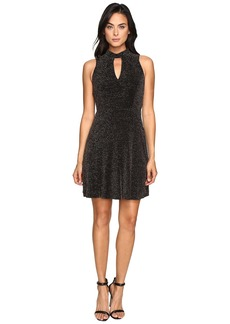 Jessica Simpson Lurex Gliter Dress with Mock Neck