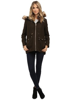 Jessica Simpson Melton Touch Anorak Coat with Faux Fur