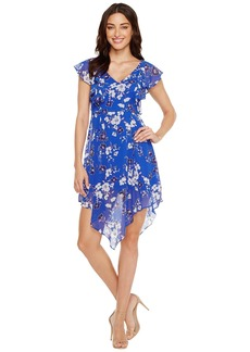 Jessica Simpson Printed Ruffle Dress with Asymmetrical Hem JS7A9387