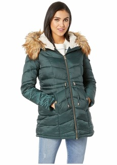 Jessica Simpson Quilted Hooded Jacket w/ Tie Waist
