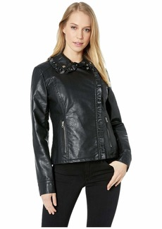 Jessica Simpson Ruffle Detail PU Jacket