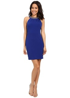 Jessica Simpson Solid Dress with Neck Embellishment JS6D8653
