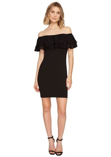 Jessica Simpson Solid Scuba Ruffle Off the Shoulder Dress