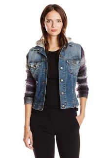JET Corp Women's Plaid Sleeve Jean Jacket  Petite/Small