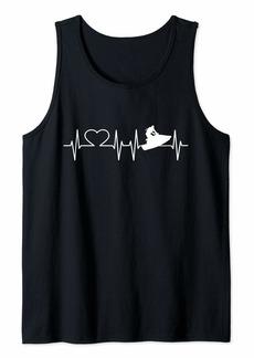 Jetski Heartbeat I Love ECG Water Sports Jet skiing Gift Tank Top