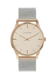 Jigsaw Ladies Two Tone Watch, Round Stainless Steel Case, Rose Gold Dial, Stainless Steel Mesh Bracelet