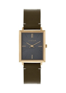 Jigsaw Ladies Watch, Gold Stainless Steel Case, Silver Tone Dial, Brown Genuine Leather Strap