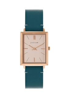 Jigsaw Ladies Watch, Rectangular Gold Stainless Steel Case, Rose Gold Dial, Genuine Leather Strap