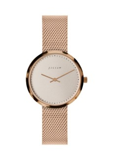 Jigsaw Ladies Watch, Round Gold Stainless Steel Case, Rose Gold Dial, Stainless Steel Mesh Bracelet