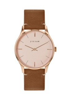 Jigsaw Ladies Watch, Round Rose Gold Stainless Steel Case, Rose Gold Dial, Brown Genuine Leather Strap