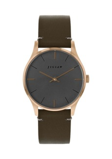 Jigsaw Ladies Watch, Round Rose Gold Stainless Steel Case, Silver Tone Dial, Genuine Leather Strap