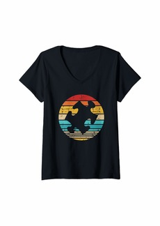 Womens Jigsaw puzzle piece vintage V-Neck T-Shirt
