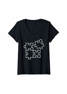 Womens Jigsaw puzzle pieces V-Neck T-Shirt