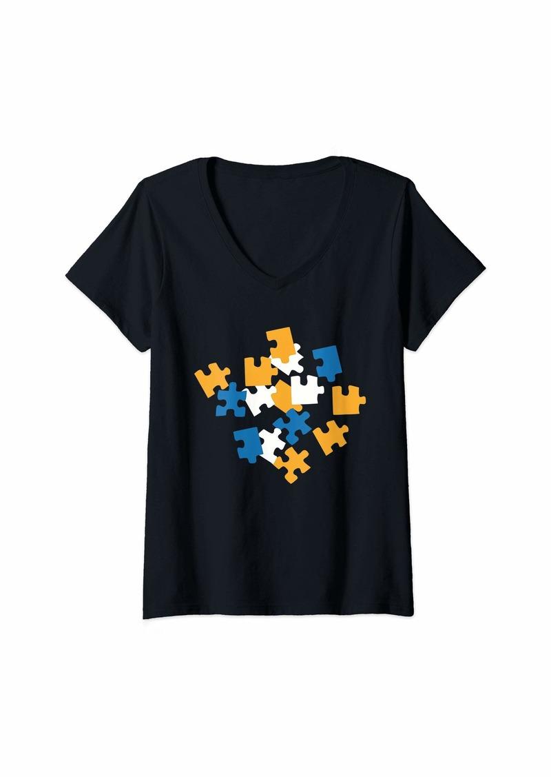 Womens Jigsaw puzzle V-Neck T-Shirt