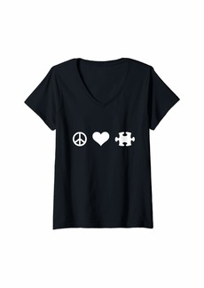 Womens Peace love jigsaw puzzle V-Neck T-Shirt