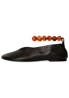 Jil Sander 10mm Bead Ankle Leather Ballerina Flats