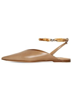 Jil Sander 10mm Pointed Leather Sling Back Flats
