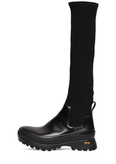 Jil Sander 40mm Brushed Leather & Neoprene Boots
