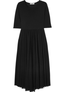 Jil Sander Asymmetric Pleated Jersey Midi Dress