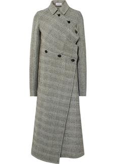 Jil Sander Asymmetric Prince Of Wales Checked Wool-blend Coat