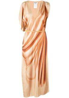 Jil Sander asymmetric sleeves maxi dress