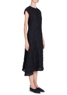 Jil Sander Asymmetric Textured Silk-Blend Midi Dress