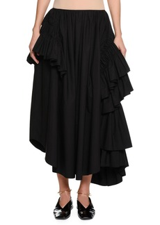 Jil Sander Back-Zip Long Full Cotton Poplin Skirt with Ruffles