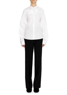 Jil Sander Band-Collar Long-Sleeve Cotton Shirt with Ruffle Detail