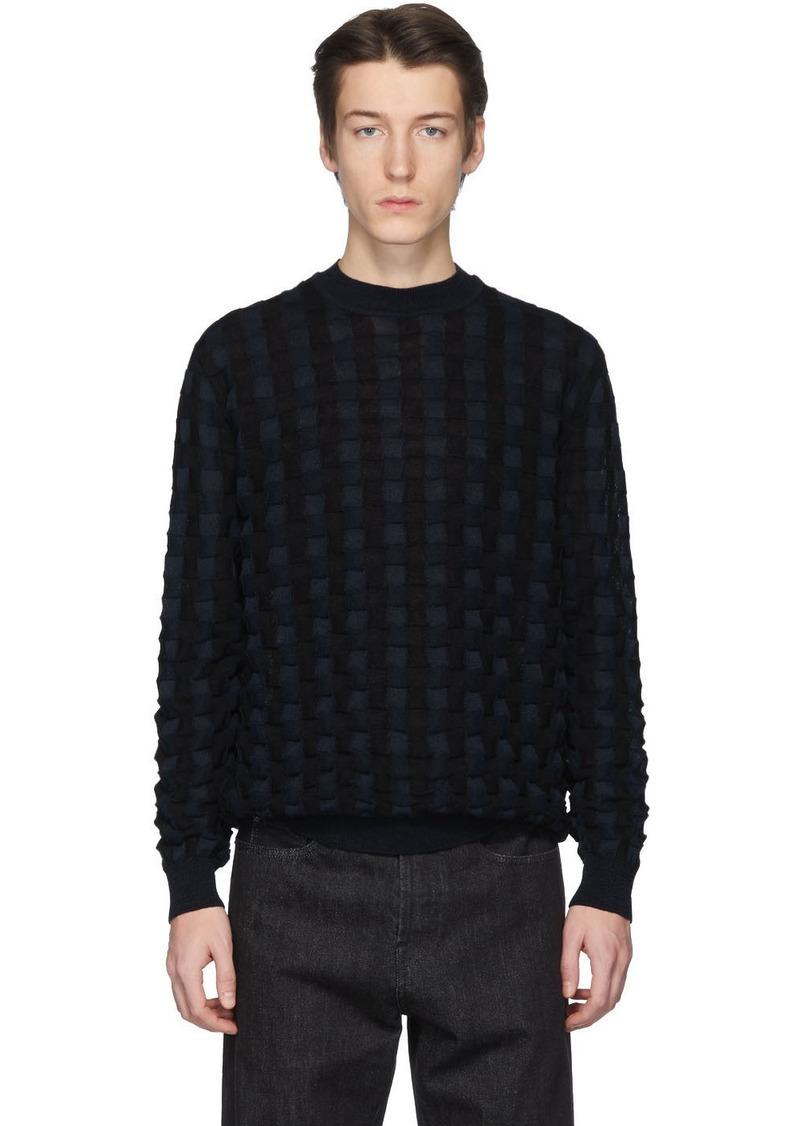 Jil Sander Black & Navy Basket Wool Sweater