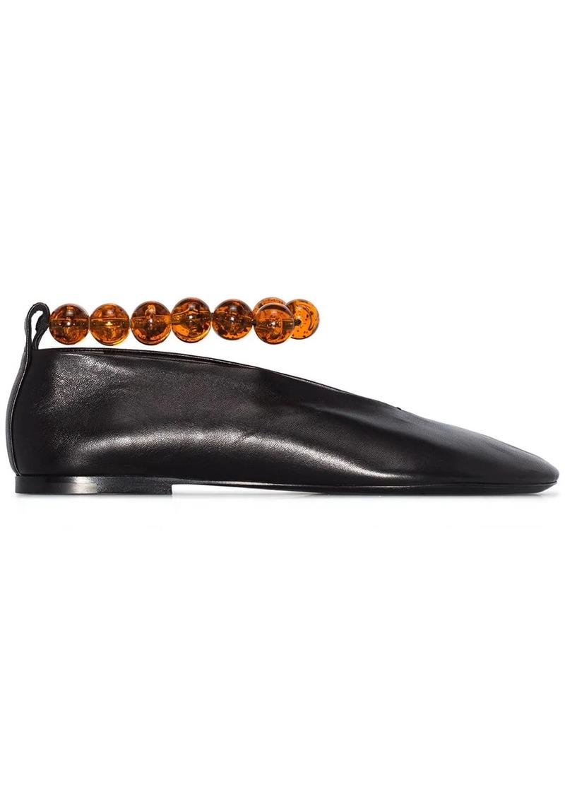 Jil Sander bead-embellished leather ballerina shoes