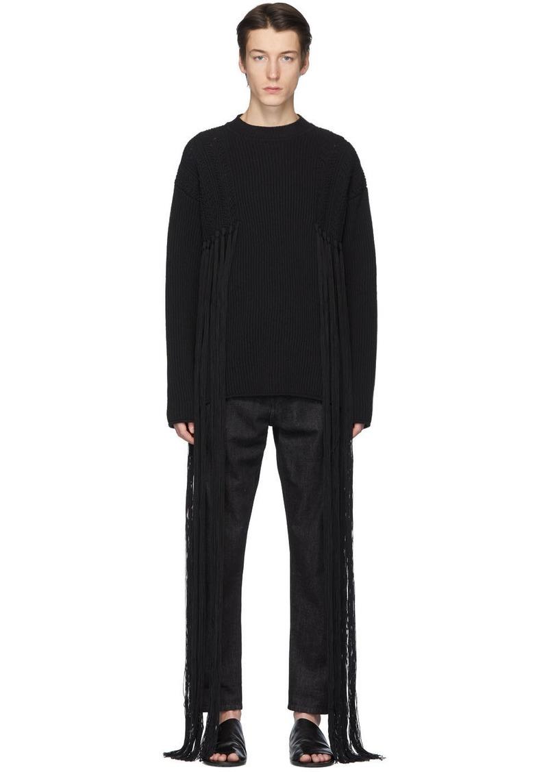 Jil Sander Black Rib Knit Fringe Sweater