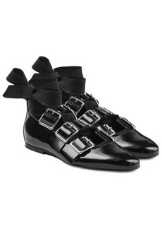 Jil Sander Buckle Strap Patent Leather Ballerinas